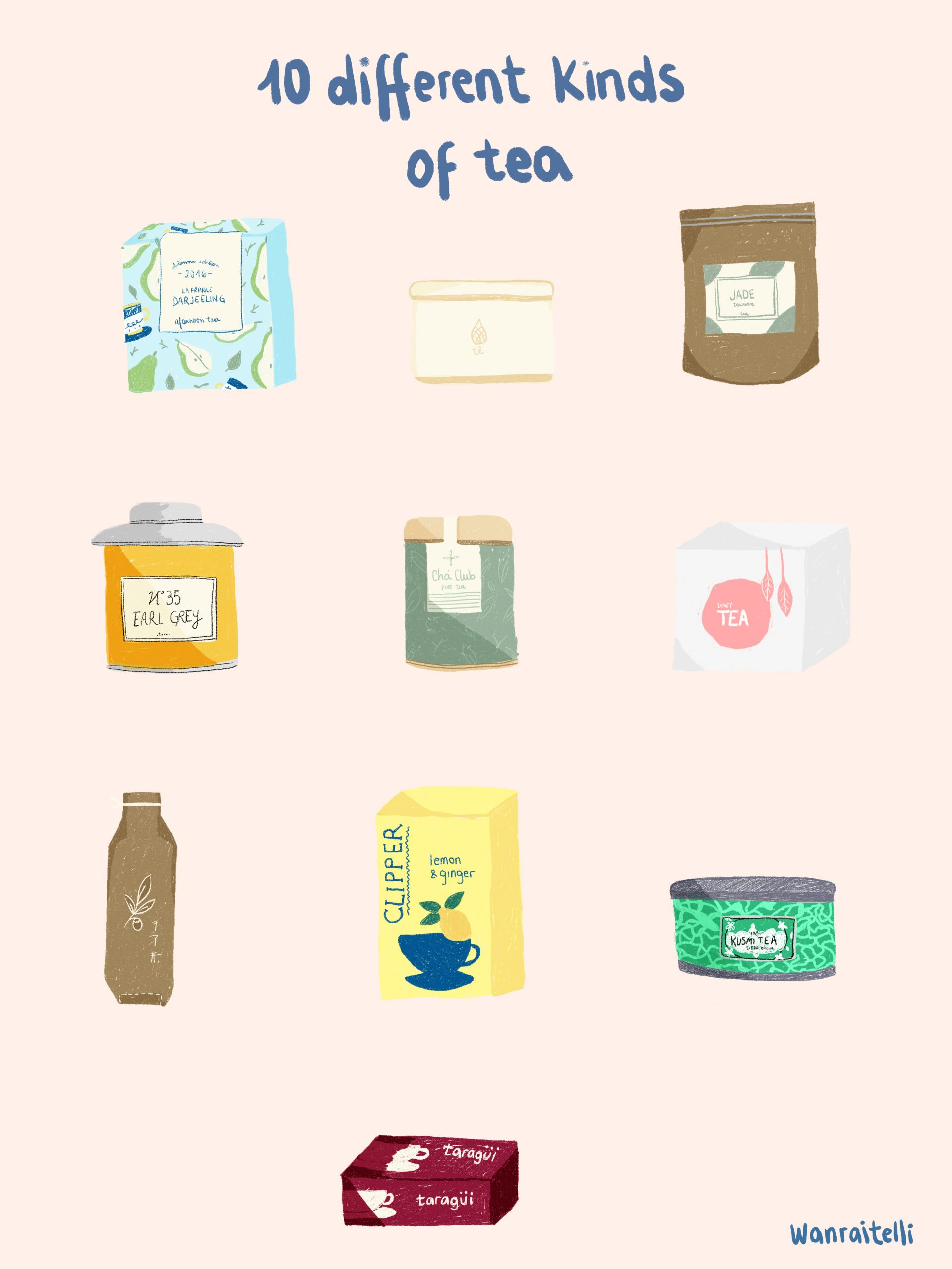 tea packages design illustration