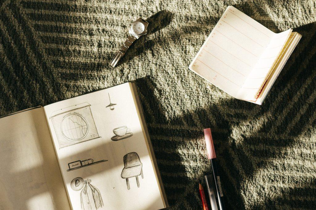 watch agenda notebook illustration